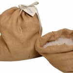 Large hessian bag with bath crystals