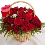 Red Rose (24) Basket with Card 500x500