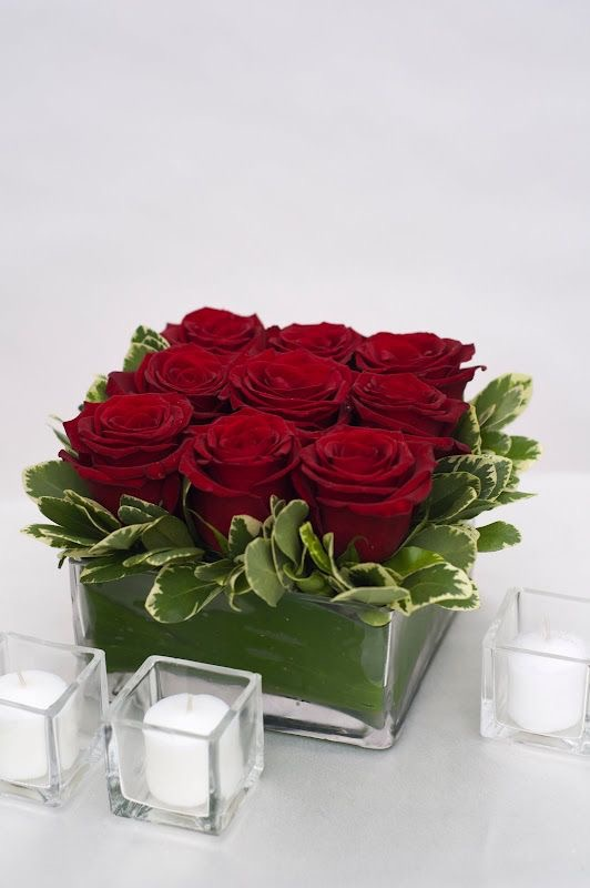 Red Roses In Square Vase 019 Coralees Florist Decor